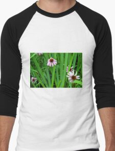 Pink large flowers in the grass. Men's Baseball ¾ T-Shirt