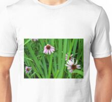 Pink large flowers in the grass. Unisex T-Shirt