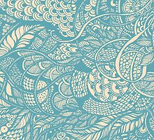 Hand drawing blue  zentangle pattern by Sviatlana Kandybovich