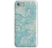 Hand drawing blue  zentangle pattern iPhone Case/Skin