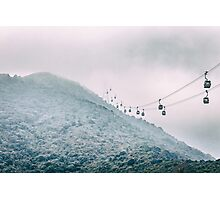 Cable car on a misty mountain high up Photographic Print