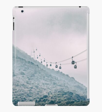 Cable car on a misty mountain high up iPad Case/Skin
