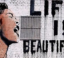 Life is Beautiful Banksy Mr Brainwash graffiti street art by geekuniverse