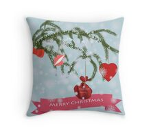 Greeting Christmas card. Throw Pillow