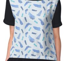 Blue watercolor and oil pastel spots Chiffon Top