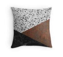 Granite, marble, rusted iron abstract Throw Pillow