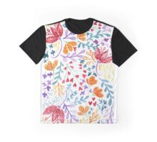 Cheerful Rainbow Watercolour Flower Pattern Graphic T-Shirt