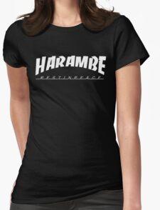 HARAMBE WHITE LOGO Womens Fitted T-Shirt