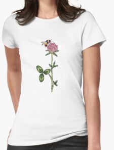 Red clover pattern Womens Fitted T-Shirt