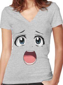 Anime face blue eyes Women's Fitted V-Neck T-Shirt