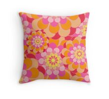 Retro Pink Yellow Tones Floral Pattern Throw Pillow