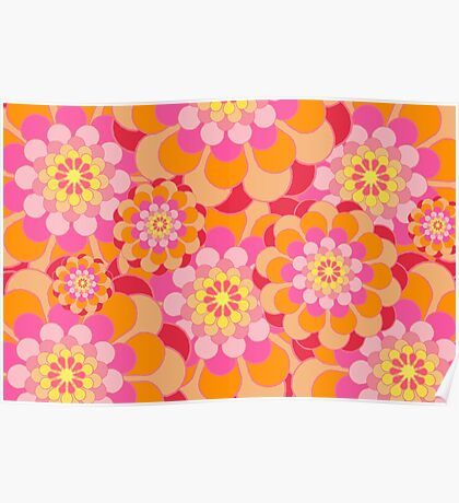 Retro Pink Yellow Tones Floral Pattern Poster