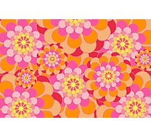 Retro Pink Yellow Tones Floral Pattern Photographic Print