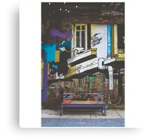 Graffiti Bench Canvas Print