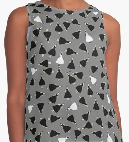 Dolls Pattern White Contrast Tank