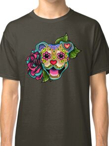 Smiling Pit Bull in Fawn - Day of the Dead Happy Pitbull - Sugar Skull Dog Classic T-Shirt