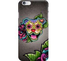 Smiling Pit Bull in Fawn - Day of the Dead Happy Pitbull - Sugar Skull Dog iPhone Case/Skin