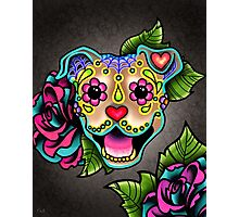 Smiling Pit Bull in Fawn - Day of the Dead Happy Pitbull - Sugar Skull Dog Photographic Print
