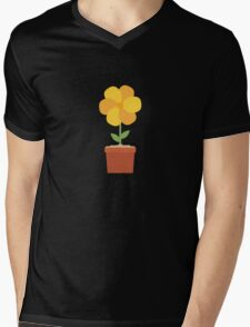 Yellow flower in the pot   Mens V-Neck T-Shirt