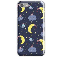 Good Night pattern with cute moon and clouds iPhone Case/Skin