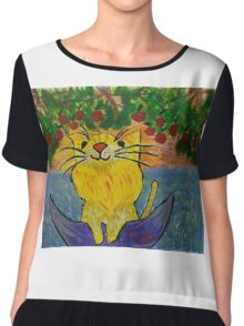 Cat dreaming on a boat eating strawberries Chiffon Top