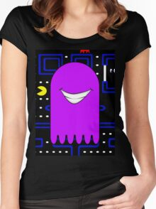 Retro Pac Man Monster Gamin Smile Women's Fitted Scoop T-Shirt