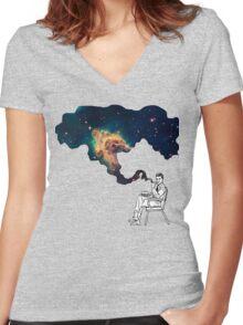 Galaxy Smoke Women's Fitted V-Neck T-Shirt