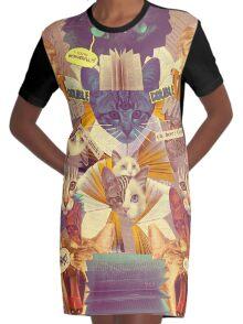 Cats n Books n Books n Cats Graphic T-Shirt Dress