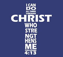 PHILLIPIANS 4:13 WHITE - ALL THINGS THROUGH CHRIST Womens Fitted T-Shirt