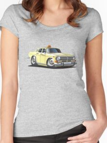Cartoon taxi car Women's Fitted Scoop T-Shirt