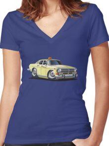 Cartoon taxi car Women's Fitted V-Neck T-Shirt