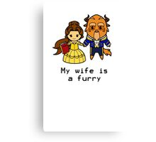 Furry Belle and the Beast Canvas Print