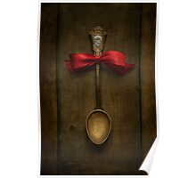 Red bow and ornamented spoon Poster