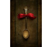 Red bow and ornamented spoon Photographic Print