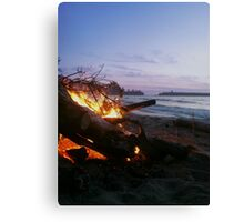 Dying Fire at Sunset Beach Canvas Print