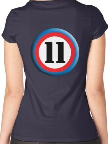11, Eleven, Eleventh, ROUNDEL, TEAM SPORTS, NUMBER 11, Competition Women's Fitted Scoop T-Shirt