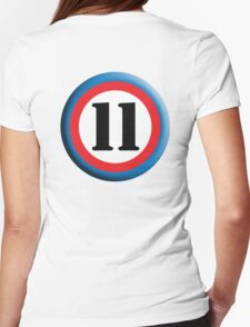 11, Eleven, Eleventh, ROUNDEL, TEAM SPORTS, NUMBER 11, Competition Womens Fitted T-Shirt