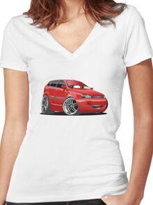 Cartoon Car Women's Fitted V-Neck T-Shirt