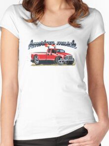 Cartoon muscle car Women's Fitted Scoop T-Shirt