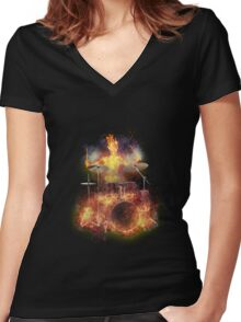 Flaming Skeleton Drummer Set 1 Women's Fitted V-Neck T-Shirt