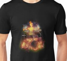Flaming Skeleton Drummer Set 1 Unisex T-Shirt