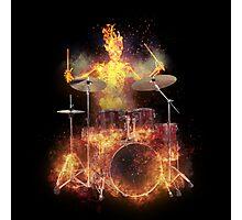 Flaming Skeleton Drummer Set 1 Photographic Print