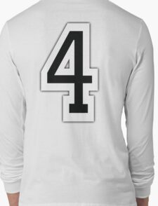 4, TEAM SPORTS, NUMBER 4, FOUR, FOURTH, Competition, White on Grey Long Sleeve T-Shirt