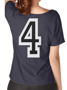 4, TEAM SPORTS, NUMBER 4, FOUR, FOURTH, Competition, White on Grey Women's Relaxed Fit T-Shirt