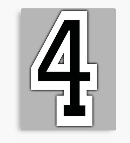 4, TEAM SPORTS, NUMBER 4, FOUR, FOURTH, Competition, White on Grey Canvas Print