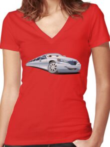 Cartoon Limo Women's Fitted V-Neck T-Shirt