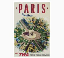 """""""TWA AIRLINES"""" Fly to Paris Advertising Print One Piece - Short Sleeve"""