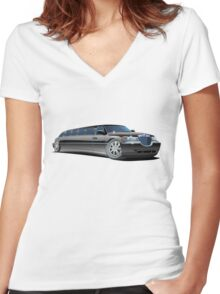 Cartoon limousine Women's Fitted V-Neck T-Shirt