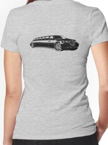 Cartoon limousine Women's Fitted V-Neck T-Shirt