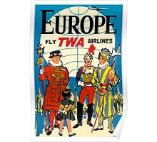 """""""TWA AIRLINES"""" Fly to Europe Advertising Print Poster"""